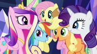 Twilight's friends return Cadance's greeting S5E19