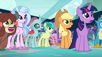 Twilight, AJ, and students watch fire go out S8E21
