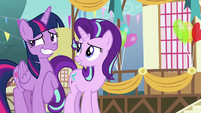 Twilight Sparkle grins with embarrassment S7E15