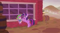 Twilight and Spike outside the barn S5E25