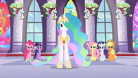 Celestia and main ponies frowning at Discord S2E1