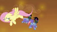 Fluttershy nervously leads Sombra's guards around S9E2