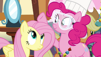 Pinkie Pie patting on Fluttershy's mane S4E18