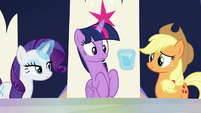 Rarity brings Twilight a glass of water S9E1