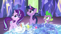 Twilight, Starlight, and Spike hear Rainbow Dash S6E24