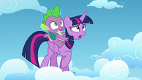 Twilight Sparkle and Spike look at Starlight Glimmer S5E26