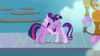Twilight Sparkle hugging Starlight Glimmer S8E2