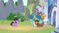 Young Six greeting Twilight and Spike S9E3
