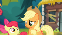 Applejack and Apple Bloom looking at each other S4E09