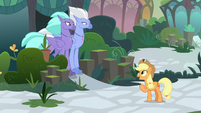 Applejack apologizing to the Hippogriffs S8E2