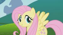 Fluttershy talking to Applejack off-screen S1E4