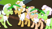 Gold Horseshoe Gals look at each other S8E5