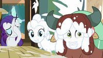Pinkie and Yona grin; Rarity face-hoofs S9E7