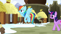 Rainbow Dash looking for Pinkie Pie S8E18
