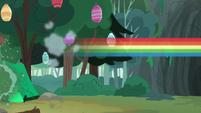 Rainbow Dash speeds into the cave S7E16