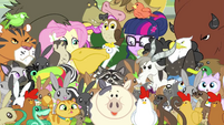 Twilight and Fluttershy in a sea of animals EG3b