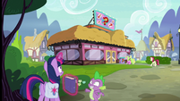 Twilight and Spike arrive at the Hay Burger S9E16