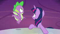 Twilight and Spike hear the doors open S9E13
