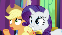 """AJ says """"not exactly"""" while Rarity nods her head S7E1"""