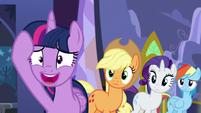 Applejack, Rarity, and Rainbow Dash sees Twilight nervous S5E11