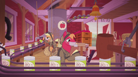 Applejack and Big McIntosh working in the apple plant S5E25