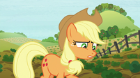 Applejack steps in something squishy S8E12