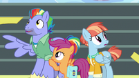 Bow and Windy remove their blindfolds S7E7