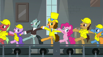 Cheese and friends in a chorus kickline S9E14