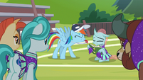 Rainbow whistling in Ocellus' face S9E15