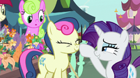 Rarity boops Sweetie Drops' nose S7E19
