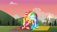 Sunset and Rainbow lean on each other CYOE11b