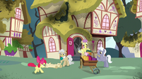 Apple Bloom runs up to Mayor Mare S5E4