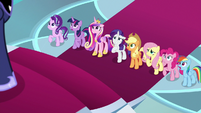 Main ponies and Cadance gasp in shock S8E25