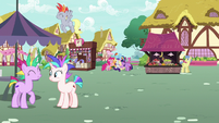 Mane Six group hug surrounded by punk ponies S7E19