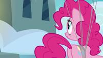 Pinkie Pie looks toward the Wonderbolt barracks S7E23