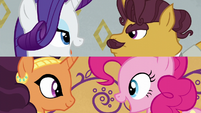 Rarity and Pinkie singing on split screen S6E12