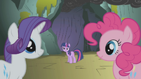 Rarity and Pinkie staring blankly S1E7