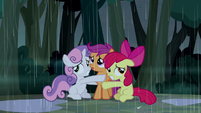 Cutie Mark Crusaders trembling in fear S5E6