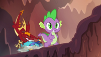 Garble pushes Ember onto the ground S6E5