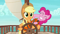 Pinkie laughing behind Applejack S6E22