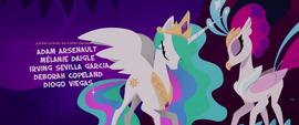 Princess Celestia and Queen Novo bow to each other MLPTM