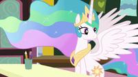 Princess Celestia observing her class of fillies S7E1