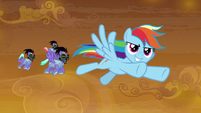 Rainbow leads guards in Fluttershy's direction S9E2