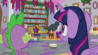 Twilight and Spike notice the cloaked figure S8E16