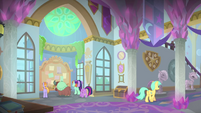 Twilight and students in the school hallway MLPS4
