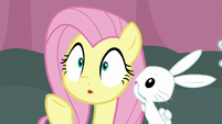 Angel whispering in Fluttershy's ear S9E16
