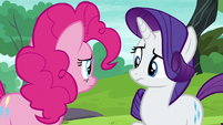 Pinkie and Rarity look at each other uncertain S6E3