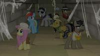 Ponies inside a crumbling corridor S9E21