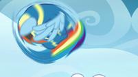 Rainbow Dash tumbling into the air S7E7