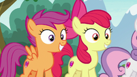 Apple Bloom and Scootaloo hear Thunderlane S7E21